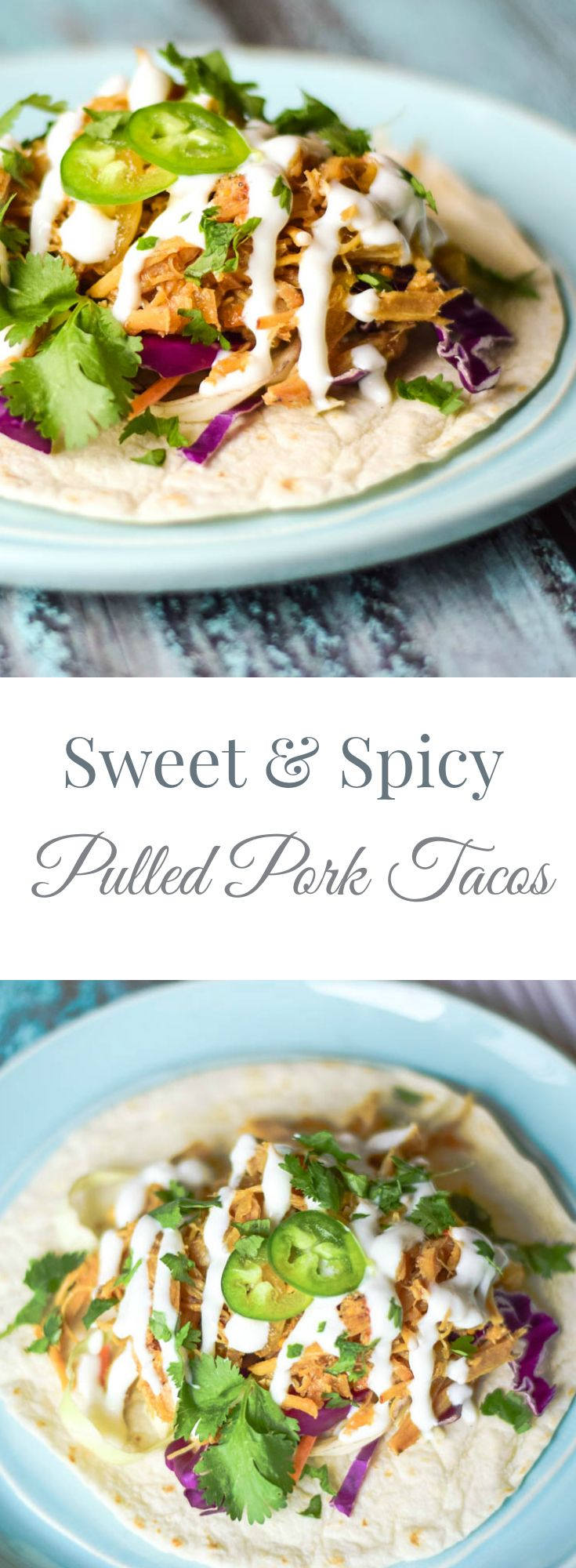 Feed your sweet heat addiction with these Sweet & Spicy Pulled Pork Tacos #SundaySupper www.grumpyshoneyb...