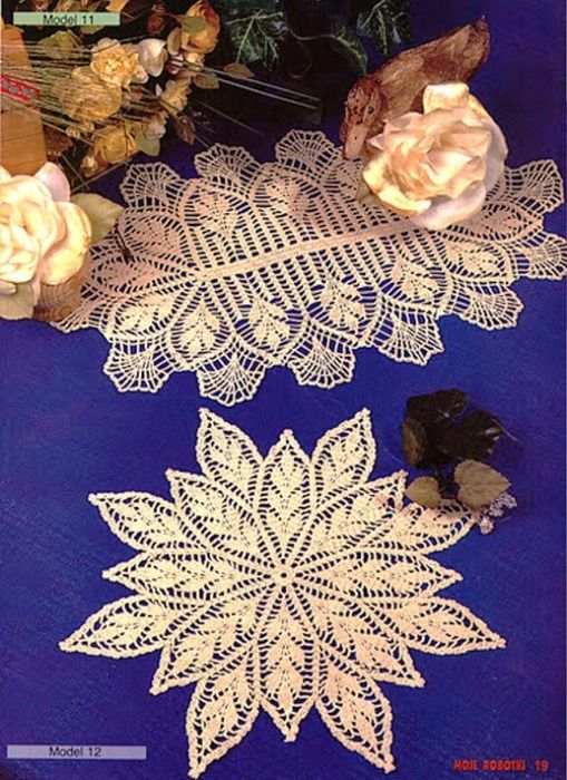 Oval and leaf doilies with diagrams