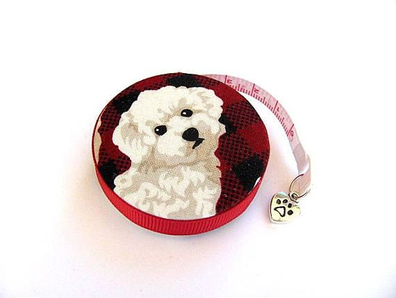 Measuring Tape Bichon Frise Dogs Retractable Pocket Tape