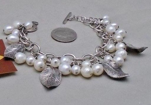 SIGNED Silpada .925 Sterling Silver Charm Bracelet Large Pearls Silver Leaves #Silpada #Charm