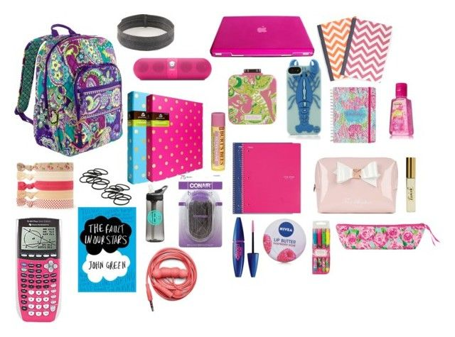 """""""Whats in my school book bag right now"""" by ceahannahgrace ❤ liked on Polyvore featuring Beats by Dr. Dre, Lilly Pulitzer, Vera Bradley, Tory Burch, C. Wonder, Burt's Bees, Ted Baker, Conair, Forever 21 and Maybelline"""