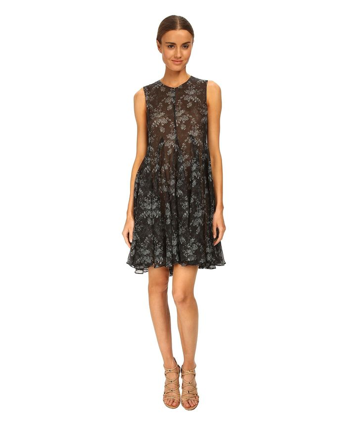 Rochii Femei Vera Wang Printed Gauze Sleeveless Trapeze Dress