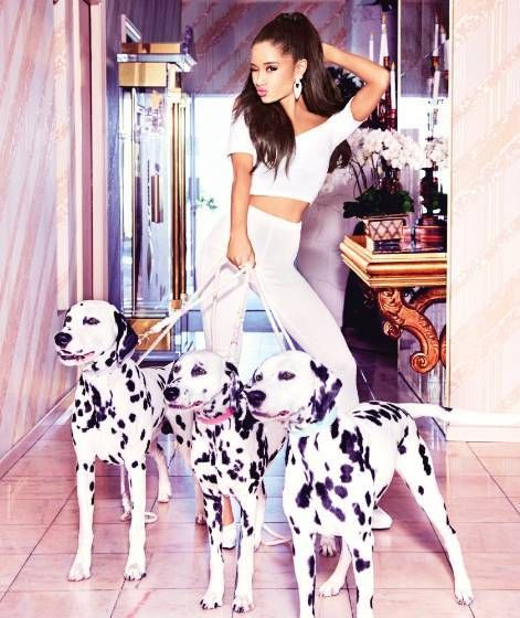 fun baby photo shoot ideas - Ariana Grande with 3 Dalmatian dogs