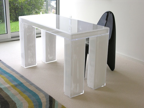 CASPER DESK  Materials: Acrylic, white powder pigment Dimensions: 42L x 20W x 30H  Options: Color, size, custom