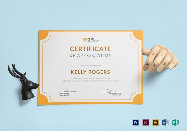 Appreciation Certificate Template  $12  Formats Included : Photoshop, Illustrator, MS Word, InDesign, Publisher   File Size : 11.69x8.26 Inchs  #Certificates #Certificatedesigns #AppreciationCertificates