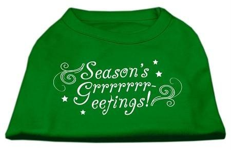 Mirage Pet Products 20-Inch Seasons Greetings Screen Print Shirts for Pets, 3X-Large, Emerald Green   : Cats Apparel