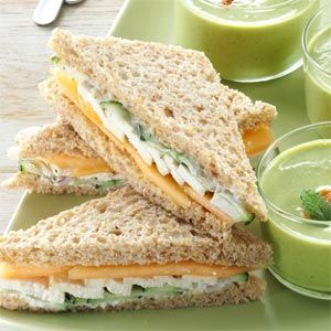 Summer Tea Sandwiches makes me think of warmer weather on a cold snowy day.  They go well with a bowl of chicken soup.  YUM!