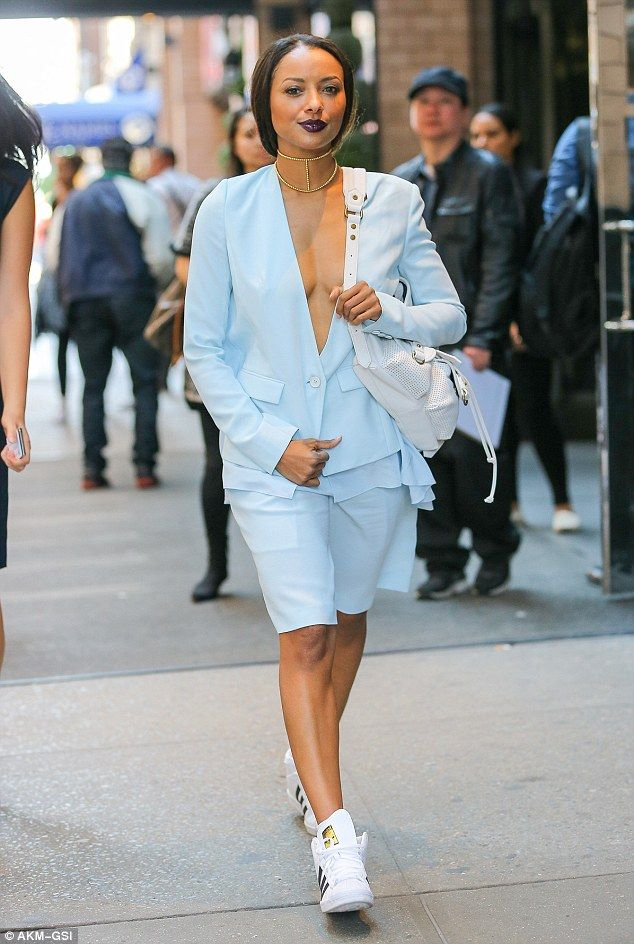 Vampire Diaries' Kat Graham braless in plunging blue jacket out in NYC | Daily Mail Online