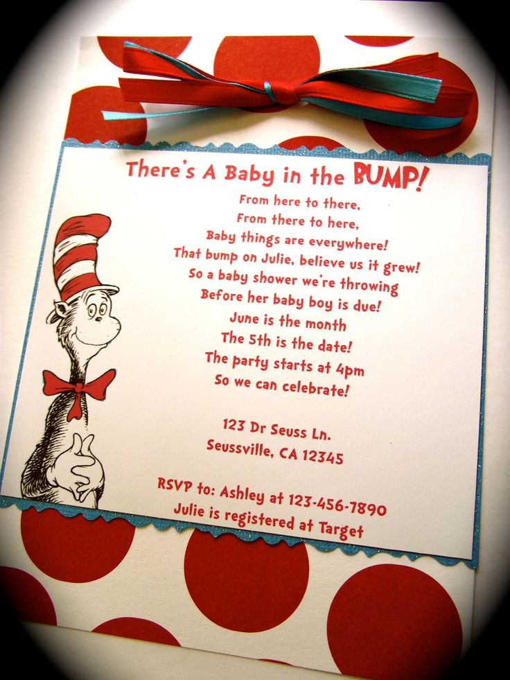 Dr Seuss Cat in the Hat Inspired Baby Shower Invitation.