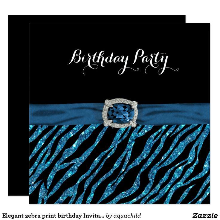 Elegant zebra print birthday Invitation
