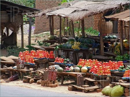 Photo of detail of a market in Uganda (Africa) with lots of fruits and vegetables in sunny ambiance
