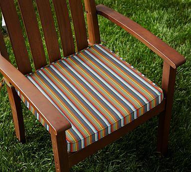 Sunbrella® Piped Outdoor Dining Chair Cushion - Stripe #potterybarn