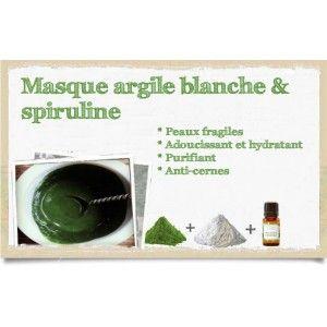 Masque argile blanche et spiruline