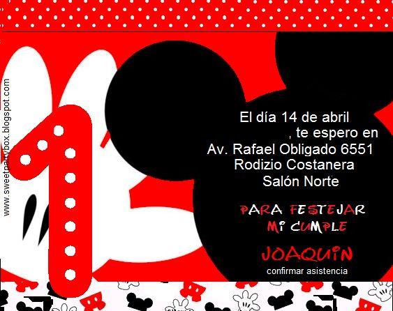 Tarjetas de invitación primer añito Mickey y Minnie Mouse - Imagui