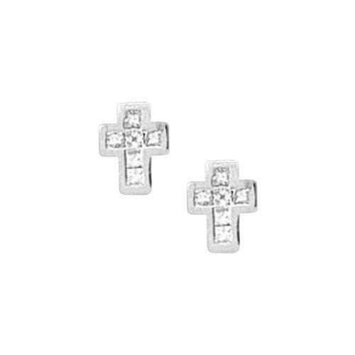 14K White Gold 1/3 ct. Princess Cut Diamond Cross Earrings $665.00