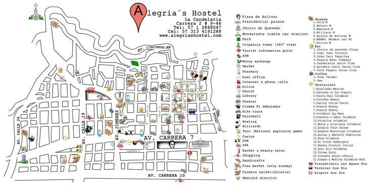 Mapa de la Candelaria por el Hostal Alegrias Hostel Bogota, Colombia