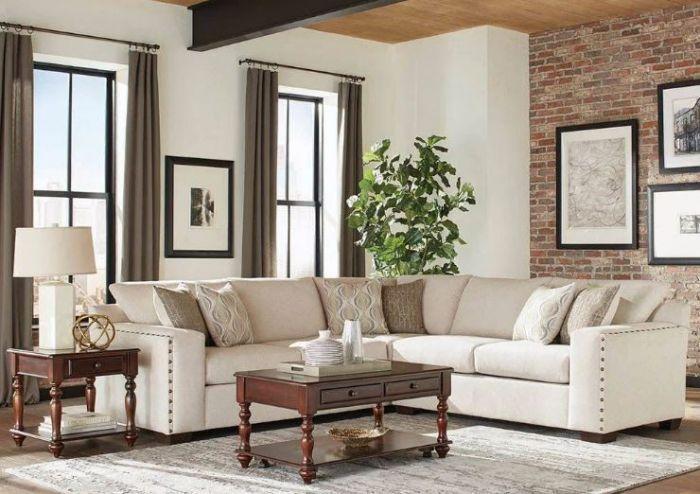 Aria Casual Oatmeal Sectional Coaster 508610 Sectional Sofa Nailhead Sofa Furniture #oatmeal #sofa #living #room #ideas