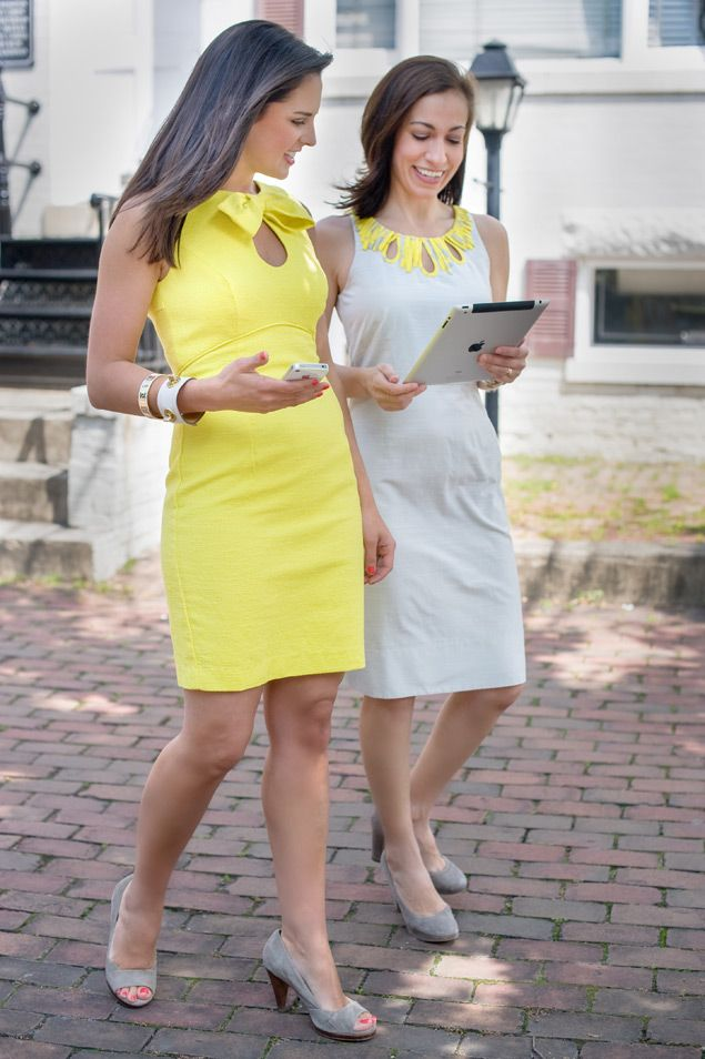 love the yellow dress with bow! Kelly (left) wears a Trina Turk