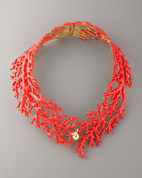 This coral necklace + white silk slip dress + beach wedding = Perfection! #wedding #jewelry L.O.V.E!!