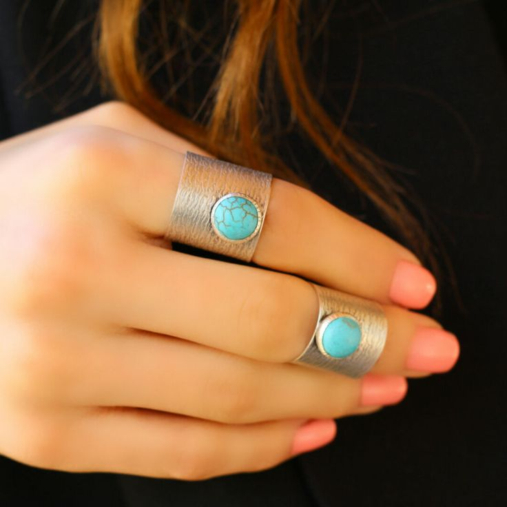 Turquoise Boho Antique Silver Statement Fashion Wrap Unique Adjustable Ring #Takimania #Statement