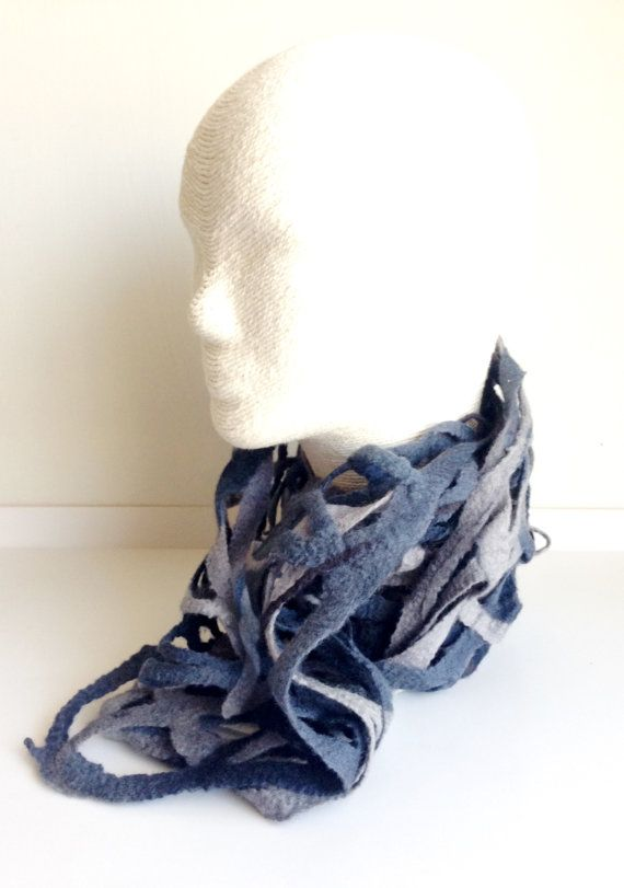 Felted Black Lace scarf by lavieboeretroos on etsy