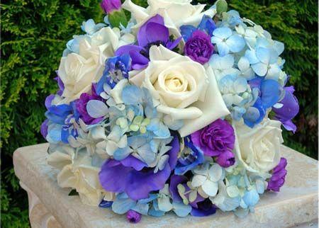 Blue, Purple and White Bridal Bouquet