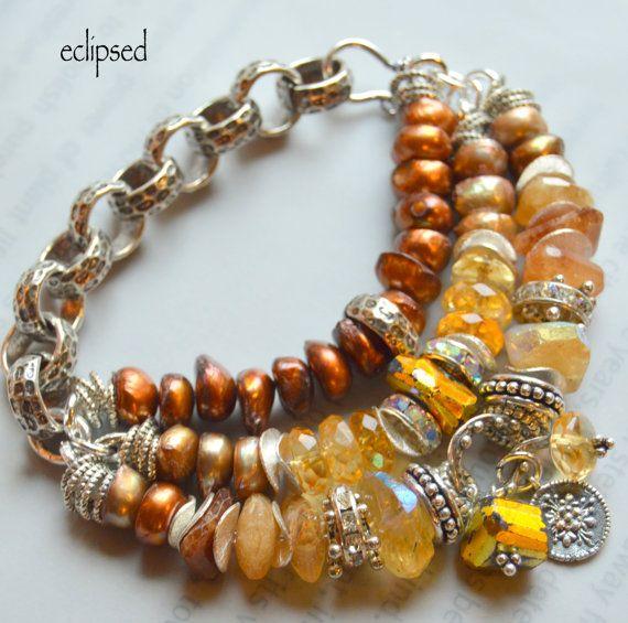 ON SALE citrine bracelet chunky chain bracelet by soulfuledges