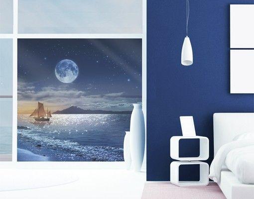 Inspirational Fensterfolie Sichtschutz Fenster Moon Night Sea Fensterbilder