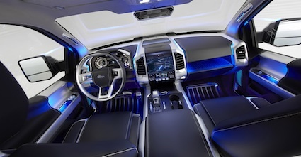 Ford Atlas Hints at Pickup Truck Future. Ambient lighting contoured seats an updated center stack and easy to decipher instrument panel read outs. & Ford Atlas Hints at Pickup Truck Future. Ambient lighting ... azcodes.com