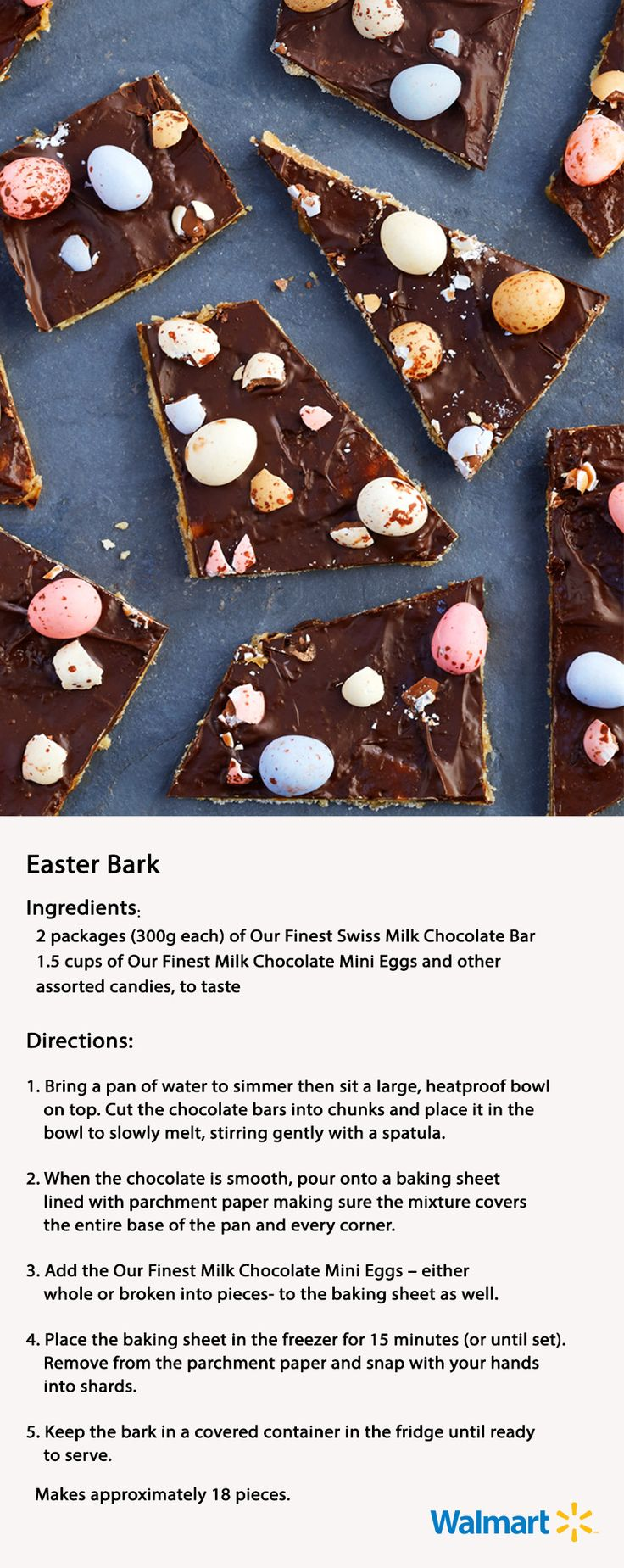 Milk chocolate bark that's perfect for the occasion: add Our Finest Mini Eggs for a festive fix! #Easter #entertaining #dessert #chocolatedesserts