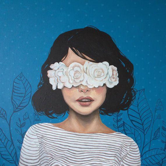 Portrait mit Blumen über Augen Quadrat Print Chr…