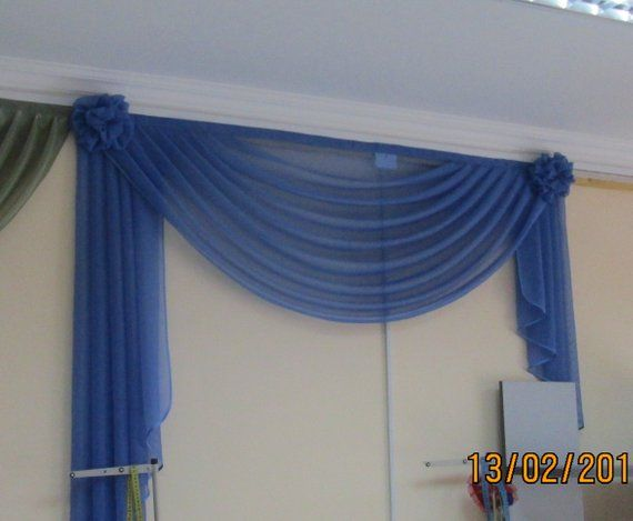 Swags And Jabots Drapery Swag Window Valance Blue Transparent
