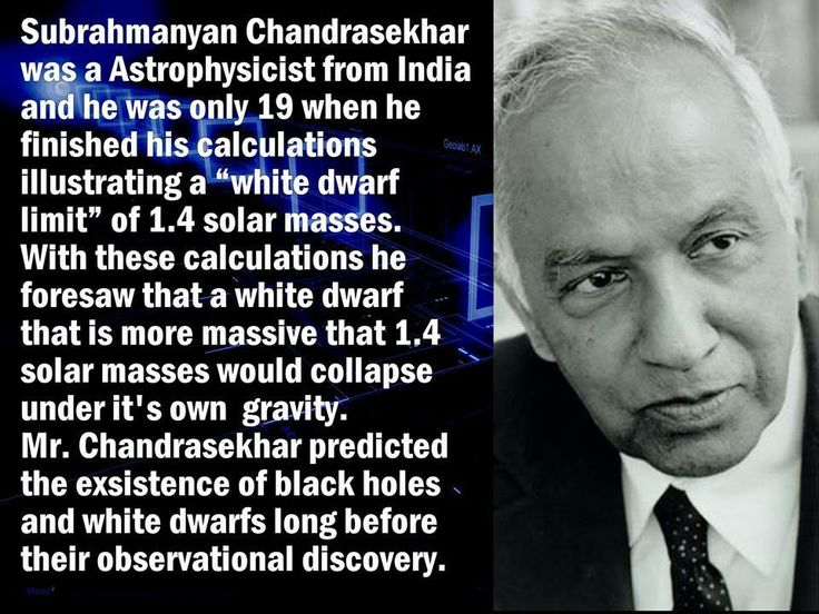 Subrahmanyan Chandrasekhar, FRS (October 19, 1910 – August 21, 1995), was an Indian-American astrophysicist who, with William A. Fowler, was awarded the 1983 Nobel Prize for Physics for his mathematical theory of black holes, which was a key discovery that led to the currently accepted theory on the later evolutionary stages of massive stars. The Chandrasekhar limit is named after him.