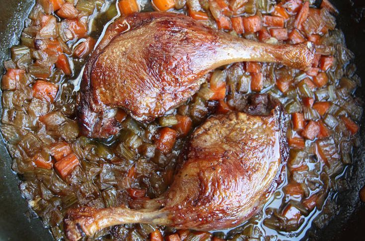 Crisp braised duck legs with vegetables is a simple, luxurious dish You brown the duck until the skin is crackly and golden You cook the vegetables in some of the rendered fat until they start to soften, then you add chicken stock and cook everything together in the oven until the duck is tender and super-crisp and the vegetables are melting and unctuous