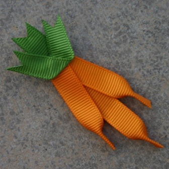 Carrots made from grosgrain ribbon