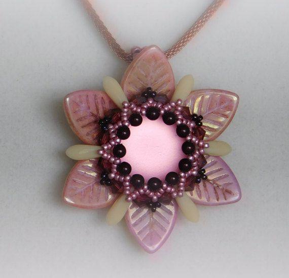 Flower Beading Tutorial, Jewelry Pendant, Pattern, Instructions, Beadweaving, Necklace, Beaded, Lunasoft,  Czech Leaf, Swarovski, PDF