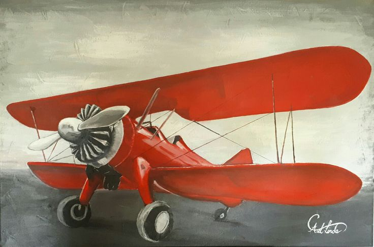 Painting of a red #biplane done for little boys room. Acrylic on canvas. Love thus #artwork by Carina van der Linde