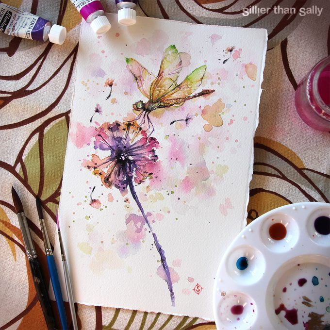 yellow and green dragonfly, on dandelion, water colour art, art, water colour flowers, whimsical, dandelion, flower, pink, purple, colourful, Sillier Than Sally Art