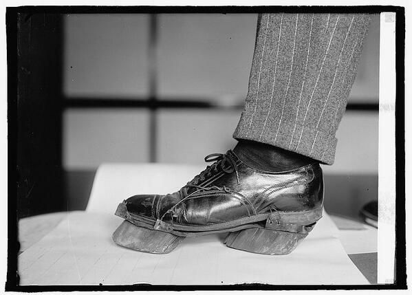 <> Cow shoes used by Moonshiners in the Prohibition days to disguise their footprints, 1922.