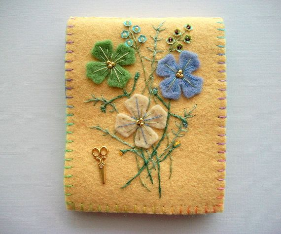 Yellow Needle Book with Pastel Coloured by HandcraftedorVintage, $25.00