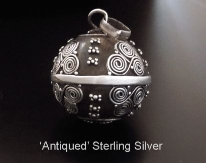 Harmony Ball Antique Sterling Silver Traditional Balinese Motifs from www.mothersdayaustralia.net.au and https://www.etsy.com/shop/EarringsArtisan #harmonyball #giftsforwomen #mothersday #mothersdaygiftideas #jewelry #jewellery