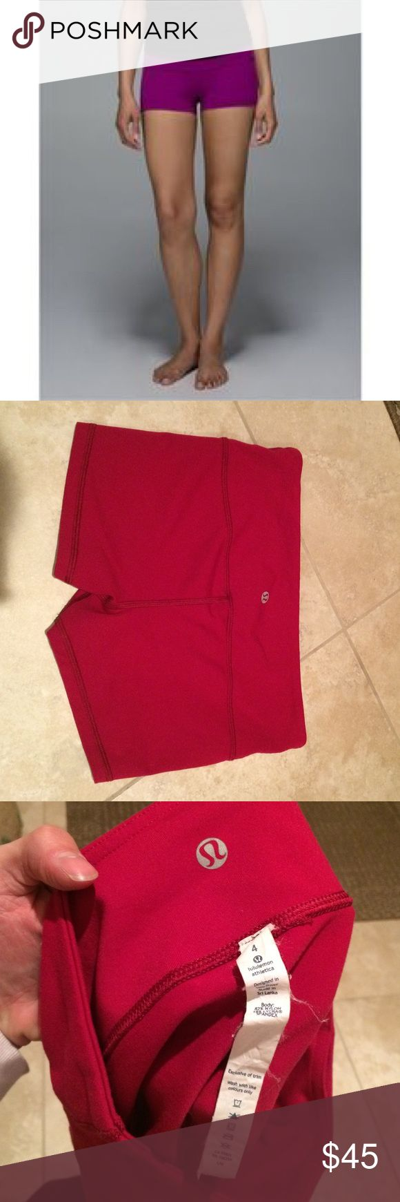 Lululemon roll down boogie shorts I couldn't get the color to show super accurately. (The lighting in my pics makes it look red, which its not, and the stock photo looks too purple-ish). I think the color is called regal plum. It's a fuchsia color. Guaranteed authentic Lululemon roll down boogie shorts. Very good preowned condition. Price on these is pretty firm! Color most accurate in last pic. lululemon athletica Shorts