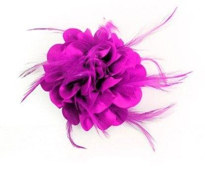 Bloem zijde met veertjes met clip/speld roze