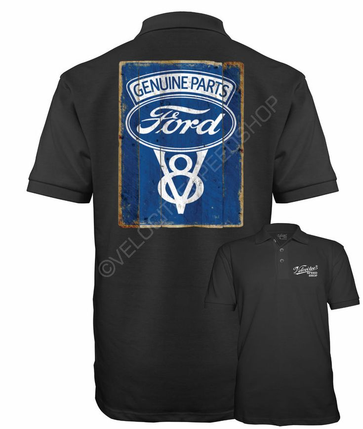 Velocitee Speed Shop Mens Polo Shirt Licensed Ford Parts V8 Sign Logo A19684 #fordpoloshirt #fordv8polo #fordsign