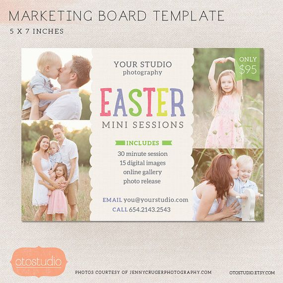 Easter mini session photography marketing board easter spring minis ms005 photoshop template for Free mini session templates for photography