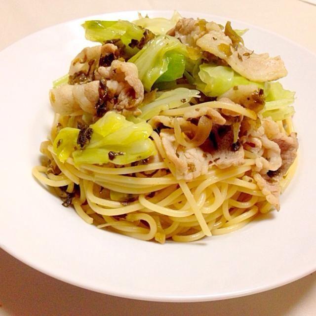 高菜漬けで和風パスタ(=^x^=) キャベツの食感と豚肉の食べ応えが◎ - 32件のもぐもぐ - 豚肉とキャベツのパスタ by micciewaori