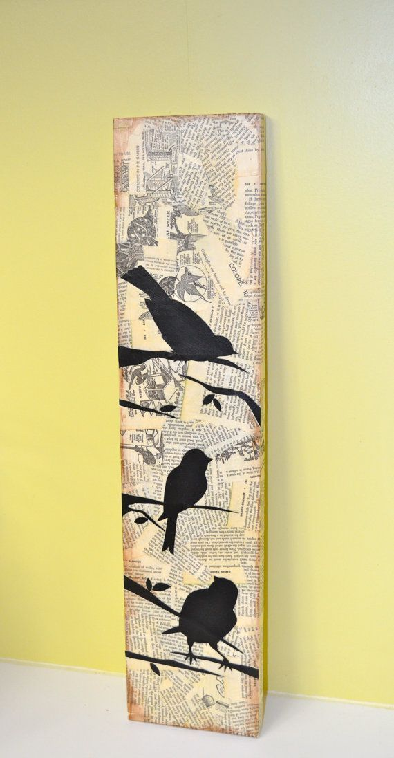 3 Mixed Media Style Bird Silhouettes by busygirlart, $ 25.00 #busygirlart # …