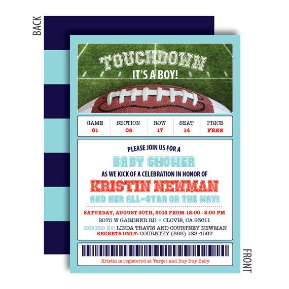 Football Baby Shower Invitations Touchdown Its A Boy Football Baby Shower Baby Shower