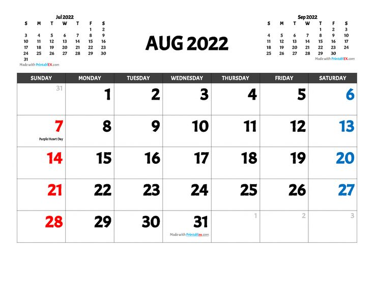 2022 Printable Monthly Calendar with Holidays - Free ...