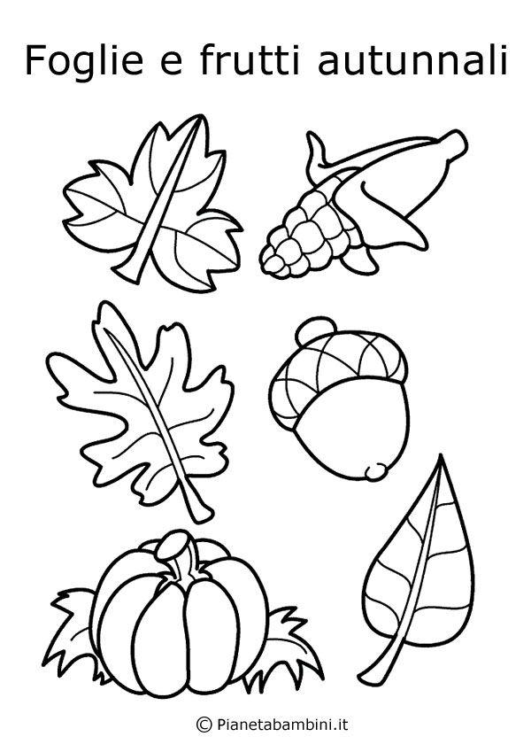 Disegni Di Frutta E Foglie Autunnali Da Colorare Pagine Da